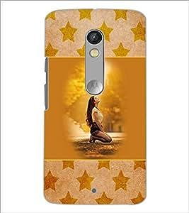 PrintDhaba Praying Girl D-3152 Back Case Cover for MOTOROLA MOTO X PLAY (Multi-Coloured)