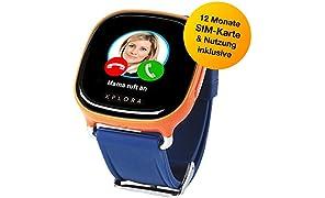 XPLORA-Telefonuhr für Kinder, inklusive 12 Monate Telefonie, Internet und XPLORA-Dienste (NUR FÜR KUNDEN IN Deutschland) … (ORANGE)