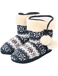 Sibba Damen Pantoffeln Stiefel Schuhe mit weichen Pom Poms Slippers warm Haus Stiefel