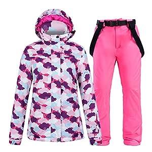 Azastar Damen Skianzug Wasserdicht Winddicht Tops Hosen Set Warmer Schneeanzug Erwachsene Damen Schneeanzüge