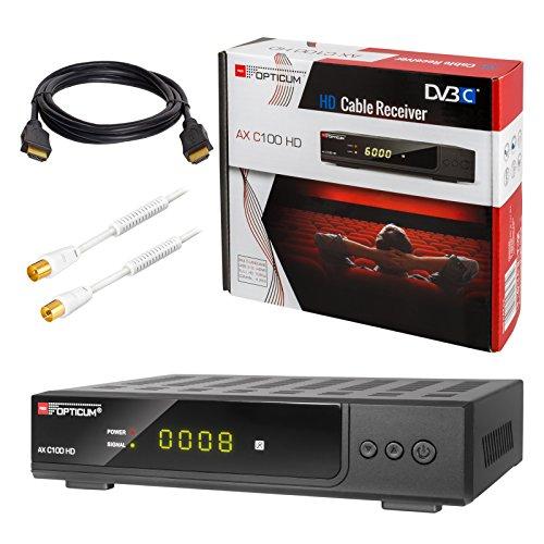 HB-DIGITAL Set: Opticum AX C100 HD Receiver für digitales Kabelfernsehen (HDMI, SCART, USB 2.0, Mediaplayer) + 3m HDTV Antennenkabel vergoldet mit Mantelstromfilter weiß + HDMI Kabel
