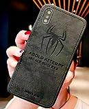 Art-design Coque iPhone X et XS Spiderman Marvel Super Hero en Tissu Haute Qualité Noir ABOLD Attempt is Half Success Silicone Souple