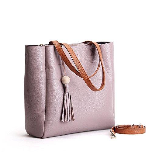 Sunrolan Damen Tasche Handtaschen Shopper Umhängetasche Schultertasche mit Franse Modisch 33x13x32cm (L xB x H) Blau violett