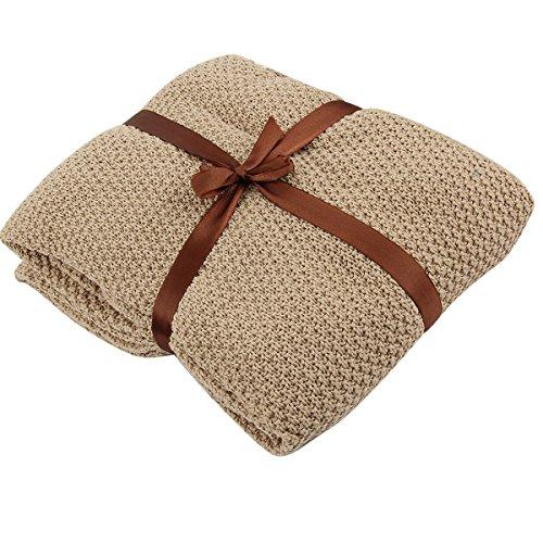 Für Neugeborene kleinkind kleinkinder Warm Knit Baby Kinderbett Kinderbett Weiche Decke Wrap Swaddle 80x 135cm khaki (Thermal-baby-decke)
