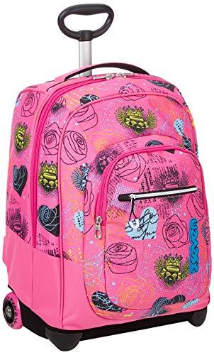 Trolley fit seven shiny girl, rosa, 35 lt, 2in1  zaino con sollevamento spallacci per uso trolley, scuola & viaggio