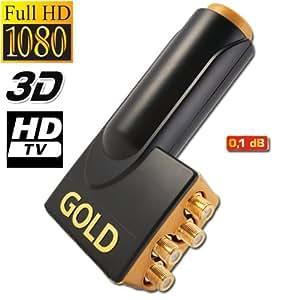 LNB QUAD MICRO GOLD connection 0.1 DB HDTV Tete De Parabole 4 Sorties