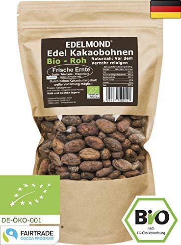 Edelmond rohe Bio Kakaobohnen. Frischware. Lizensiertes Fair Trade. Top Edel-Schokoladen Bohne ohne Insektizide. 1000g