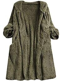 Darringls Chaqueta Mujer cálido,Abrigos Chaqueta de Punto Mujer Cárdigan Abrigo Más Terciopelo Color sólido