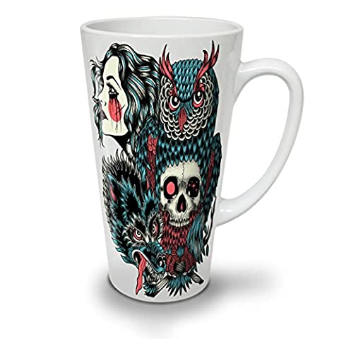 Wolf Dragon Skull Fashion White Ceramic Latte Mug 17 oz | Wellcoda