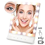 Lmeison Multiple Illumination Settings Lighted Makeup Mirror, Touch Screen Makeup Mirror with Removable 10x Magnifying Spot Mirror