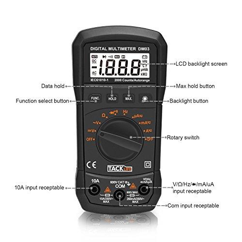 Tacklife DM03 Clásico Multímetro Digital auto ranging 2000 cuentas amperímetro voltímetro ohmímetro con retención de dato MÁX para medir resistencia diodo y continuidad audible