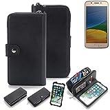 K-S-Trade 2in1 Handyhülle für Lenovo Moto G5 Single-SIM Schutzhülle & Portemonnee Schutzhülle Tasche Handytasche Case Etui Geldbörse Wallet Bookstyle Hülle schwarz (1x)