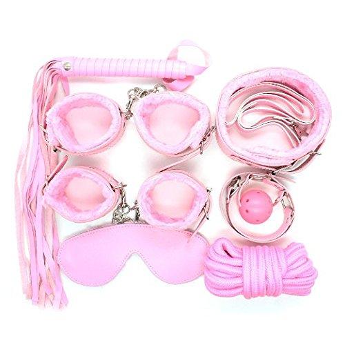 LifeJoy Schlafzimmer Rollenspiele Pelz-Kragen-Gag Cuffs Meister Peitsche Seil Blindfold 7pcs Bondage Kit (Pink)