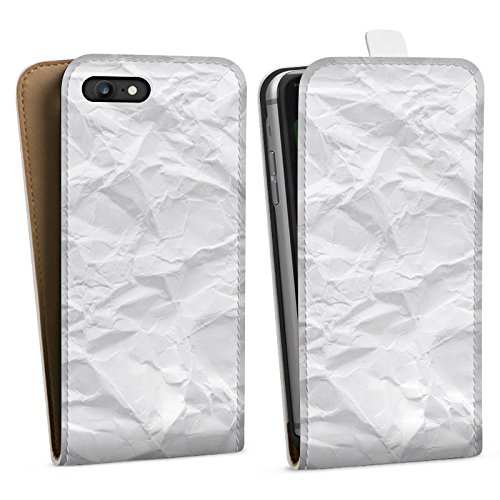 Apple iPhone X Silikon Hülle Case Schutzhülle Papier Blatt Muster Downflip Tasche weiß