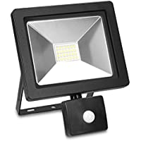 kwmobile foco proyector LED de exteriores de 20W - reflector de luz con sensor de movimiento de 1600 lúmenes - lámpara con sensor crepuscular