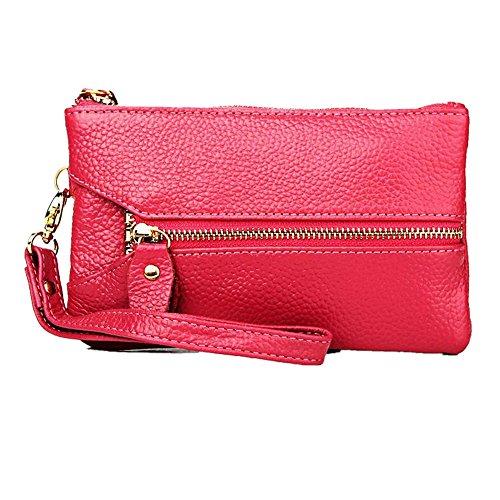 MeiliYH Portafoglio multifunzionale delle raccoglitore delle signore di modo di delle signore del raccoglitore del telefono di cuoio rosa rossa