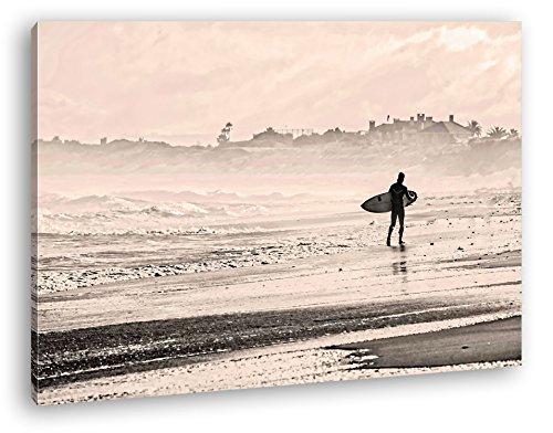 deyoli Surfen am Sandstrand Format: 80x60 Effekt: Zeichnung als Leinwandbild, Motiv fertig gerahmt auf Echtholzrahmen, Hochwertiger Digitaldruck mit Rahmen, Kein Poster oder Plakat