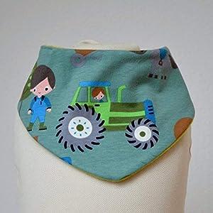 Baby Lätzchen Sabberlatz Halstuch Bib Jungen 0-3 Jahre Fleece Jersey grün grau Traktor Bauernhof