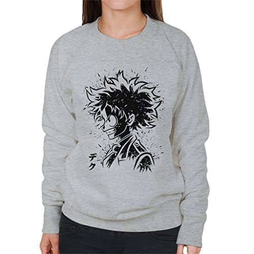 My Hero Academia Deku Manga Portrait Womens Sweatshirt Heather Grey