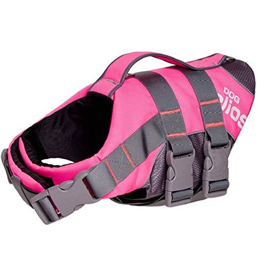 LIULINCUN Schwimmhilfe Für Hunde, Schwimmweste Für Hunde, Schwimmanzug Für Haustiere, Schwimmhilfe Für Hunde, Rettungsweste Für Hunde,Pink,L -