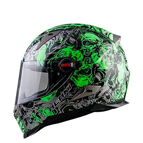 Harleeyr Motorradhelm Männer Full Face Helm Moto Reiten ABS Material Motocross Helm Motorrad Green Pattern XXL