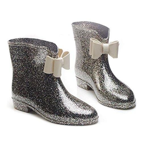 Meijunter Korean Femmes Antidérapant Rainboots Bottes de pluie Imperméable Caoutchouc Rain Shoes Princesse Boots Chaussures nautiques Black Bow