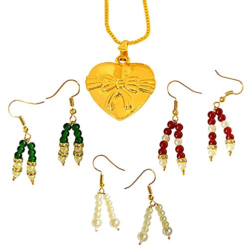 Surat Diamonds Heart & Bow Shaped Gold Plated Pendant And 3 Coloured Stone & Shell Pearl Earring Set For Women...