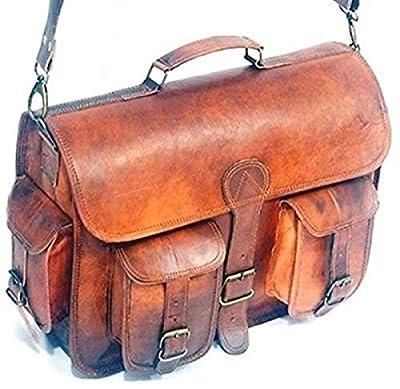 HLC Sacoche pour ordinateur portable en cuir véritable Style vintage