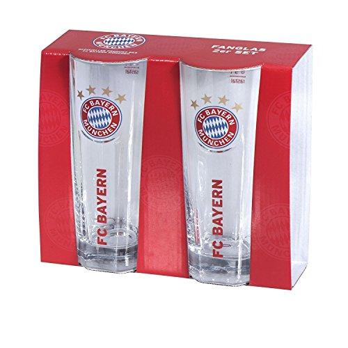 Glas / Trinkglas + gratis Aufkleber / Fanglas 2er Set FCB 2er Set FC Bayern MÜNCHEN Munich - Glas, Bierglas, mug, jug, jarra, cruche