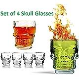 Geekmonkey Skull Shot Glasses, Set Of 4 Home Drink Bar Accessories Food Grade Glass (Set Of 4)