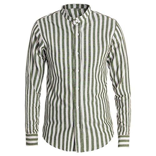 Giosal camicia uomo lino bicolore rigata collo coreano righe slim casual c1388a-verde-l
