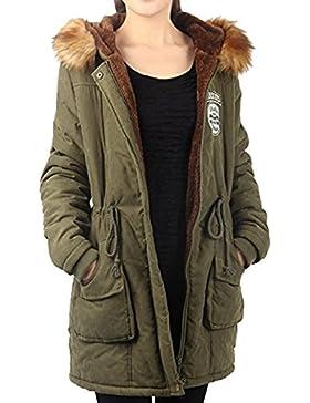 BLACKMYTH Invierno Mujer Cálido Capa Capucha Pelo Parka Jacket Outwear