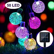 ZWOOS Solar Lichterkette, 7m 50 LED Lichterkette mit 8 Modi, wasserdichte Kristallkugel Lichterketten für Garten, Terrasse, Weihnachten (Bunt)