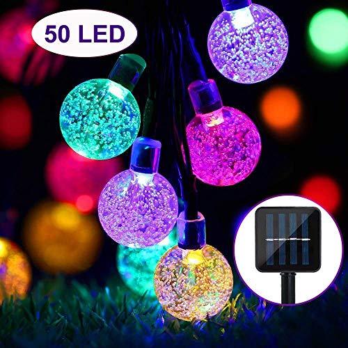 ZWOOS Solar Lichterkette, 50 LED Bunt Lichterkette mit 8 Modi für Garten Weihnachten
