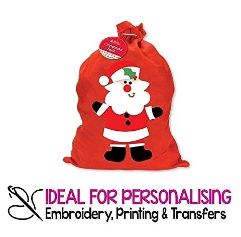 2x groß rot Weihnachten Sack Weihnachtsstrumpf mit Santa Design 60cm