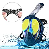 Enkeeo Full Face Snorkel Mask Mirror Lenses Anti-Fog UV Protection Anti-Glare Watertight 180�Panoramic View with Dry Top Technology, Detachable Breathing Tube, GoPro Compatible Mount, Soft Headbands and Mesh Bag, L/XL