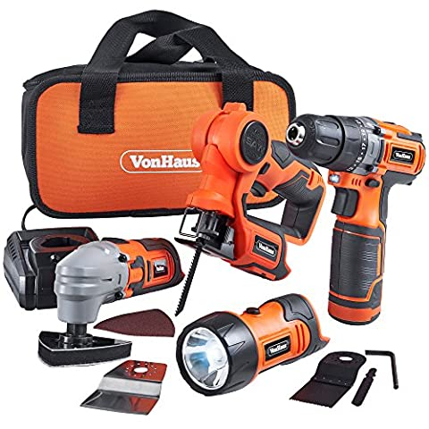 VonHaus 12V Li-ion Cordless Power Tool Combo 4 Piece Set Kit incl 2-Speed Drill / Driver, Multi-Purpose Saw, Multi Oscillating Tool, Flash Light / Torch with 1 Hour Charging Time and Carry