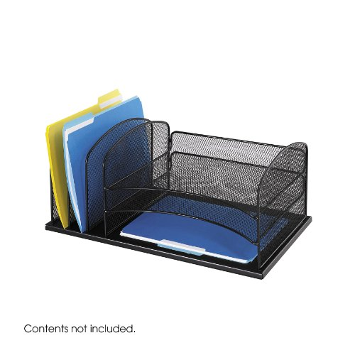 Safco 3254BL Onyx Mesh Desk Organizer with  3 Horizontal and  3 Upright Sections