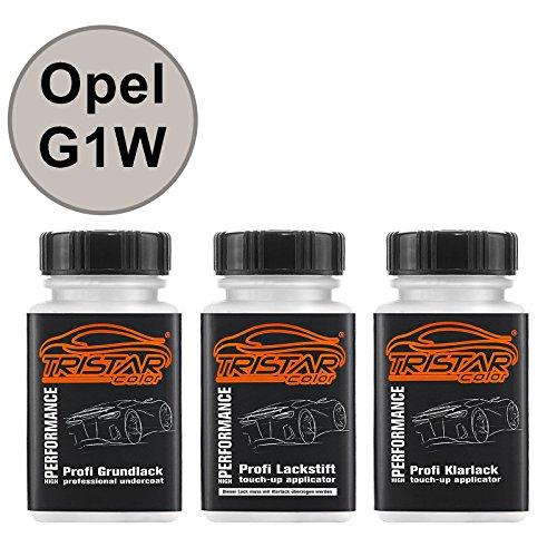 Preisvergleich Produktbild Autolack Lackstift Set Opel G1W Abalone White Perl Grundlack Basislack Klarlack je 50ml