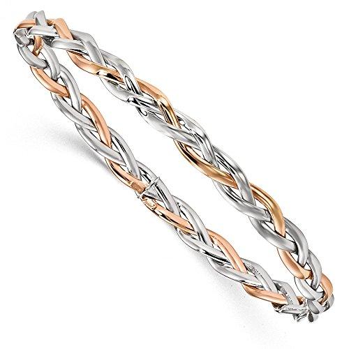 5,5mm 10K Zweifarbig geflochten Armreif Armband-Höhere Gold Goldgrad als 9Karat Gold