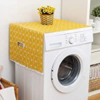 TOPINCN Fridge Dust Cover Multi-Purpose Washing Machine Cotton Linen Top Cover with Side Storage Pockets-Yellow White Stripes(55 x 130cm)