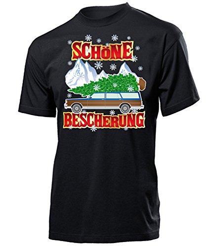 Schöne Bescherung 4557 Weihnachtsshirt Xmas Heiligabend Outfit Frohe Weihnachten Merry Christmas Geschenk Santa Claus Herren T-Shirt Schwarz XXL -