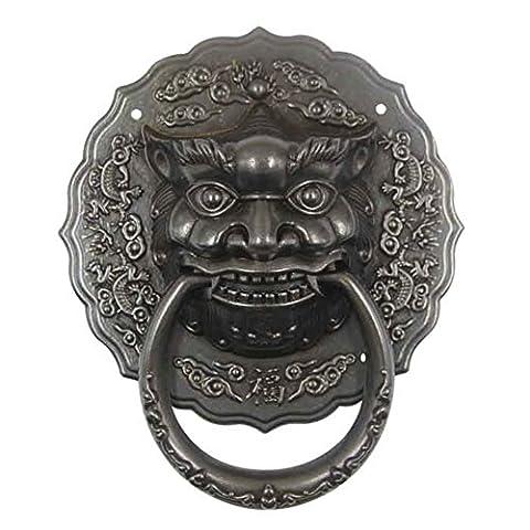 Tiger Kopf Klopfer antiken Tor/Beast von reinem Kupfer Antik Griff/Vintage retro Ring Türklopfer-C