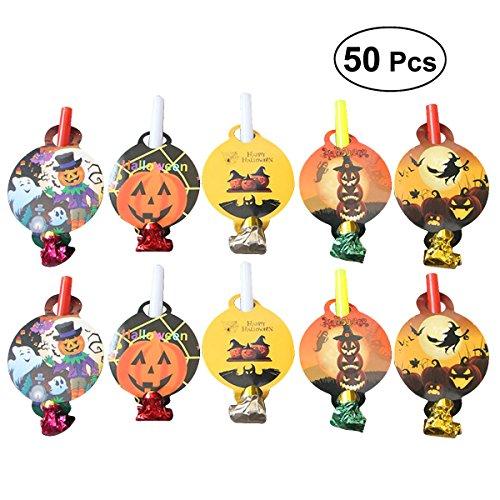 Amosfun 50 Stücke Bloodouts Noise Maker Halloween Elemente Pfeifen Spielzeug Neuheit Geburtstag Party Favors Supplies Weihnachten Geburtstagsgeschenk für Kinder Kinder