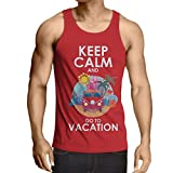 N4442V Camiseta sin Mangas Keep Calm and Go to Vacation (X-Large Rojo
