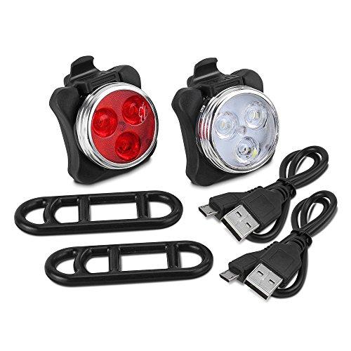 Fahrradlicht LED Set, Furado Fahrradlicht Fahrradbeleuchtung, Wasserdicht LED Fahrradlampenset, USB Wiederaufladbare Frontlicht und Rücklicht mit 4 Licht-Modus & 2 USB Kabel für Fahrrad Radfahren - 7