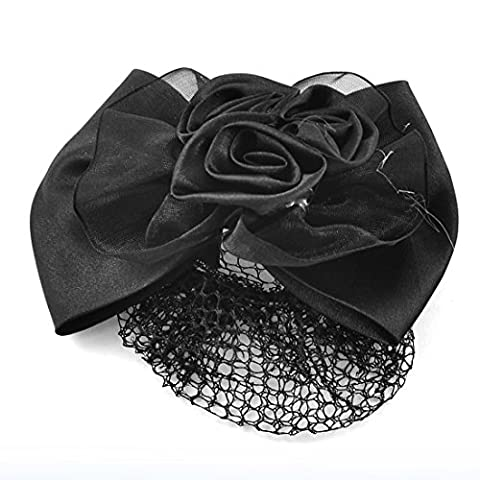 Black Flower Bowknot Detailing Hair Clip Clamp Snood Net Barrette Bun Cover for Lady