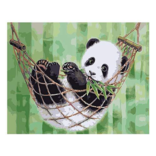 Malen Nach Zahlen,Malen Nach Zahlen Leinwand,40x50 cm Tier Stil Frameless DIY Digitales Ölgemälde Malen nach Zahlen Leinwand mit Farben Pinsel für Zuhause Wohnzimmer Büro Decor Panda