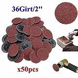 Bargain World 50pcs 36 Grit 2 Zoll 50mm Rollsperre Schleifscheiben Schleifwerkzeug für die Dremel