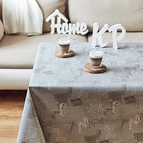 Grey Luxury Paris Design Wipe Clean Vinyl PVC Tablecloth – Size 200cm x 140cm (79X55in) – High Quality, Easy Clean Oilcloth